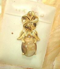 14k Yellow Gold Hawaiian Plumeria Authentic Natural Beige Gold Coral Pendant