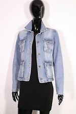 T13-1 H&M Logg Damen Jeans Jacke Denim Jacket Gr. 38 blau Used Look Safari-Look