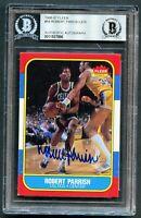Robert Parish #84 signed autograph 1986-87 Fleer Basketball Card BAS Slabbed