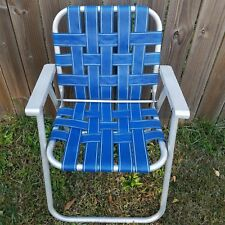 Vintage Lawn Chair Aluminum Blue White Folding Foldable Web Camp Retro Patio