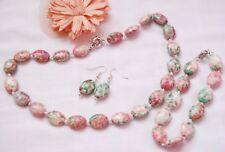 Handmade  jasper natural gemstone jewellery set necklace earrings bracelet