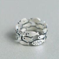 Ring Birthday Gift Finger Rings Gift Adjustable Fish Silver Plated Rings