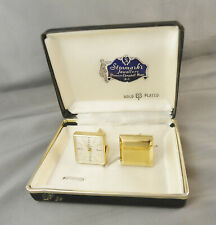 VINTAGE SOVEREIGN SQUARE GOLD TONED SWISS WATCH CUFFLINKS CASED SET