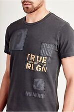 New TRUE RELIGION Buddha Horseshoe Punk Patches T-Shirt - Size Large $89