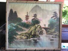Framed Japanese Silk Painting Mid century Signed Cherry Blossom Temple Art