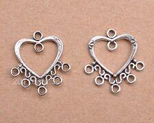 wholesale 10pcs tibetan silver heart Connectors earring findings 24x22mm
