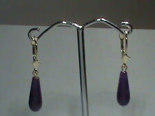 14kt Gold Leverback Earrings Natural Lavender Jade Finely Shape Drops