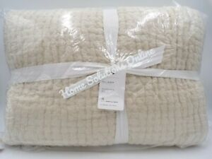 Pottery Barn Pick Stitch Handcrafted Cotton Linen Quilt Full Queen Flax #9794W