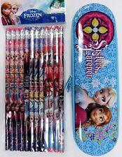 DISNEY FROZEN TIN PENCIL CASE and 12 ct Pencils set