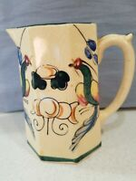 Vintage Hand Painted Creamer Pitcher Floral Blue Flowers Japan