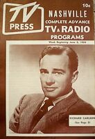 TV Guide TV Press 1954 Nashville Regional Richard Carlson Magazine Programs Rare