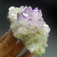 Recrystalized Amethyst Purple Quartz Crystal Cluster-qze0215
