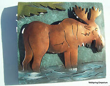 Framed Browsing Moose Artisan Made 3D Metal Wall Sculpture Indoor or Outdoor Art