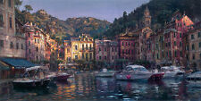 Wonderful oil painting nice landscape - dawn in portofino with Yacht canvas 36""