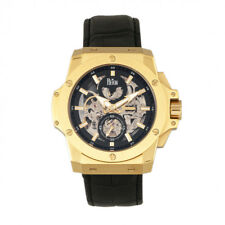 Reign Commodus Automatic Skeleton Dial Black Leather Gold Men's Watch RN4004