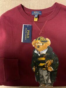 Polo Ralph Lauren fleece polo bear football sweatshirt NWT Sz L 14-16 youth  Uni