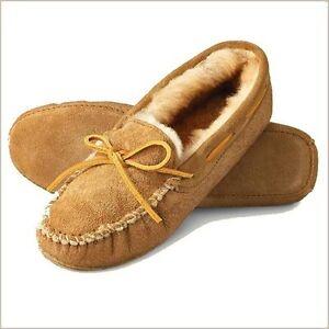 Minnetonka Womens 3411 Golden Tan Sheepskin Slipper Softdsole Moccasin 5M New