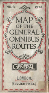 OLD LONDON BUS MAP - 1928 - No. 6 - LONDON GENERAL OMNIBUS ROUTES