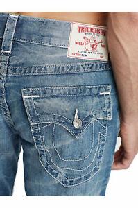True Religion Men's Slim W Flaps Jeans Size 33 x 34 NWT Broken Wagon Blue Wash