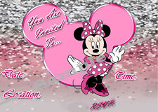 Minnie Mouse Party Invitations with matching envelopes, princess, 12pack