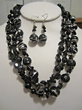 Three Strand Black Glass Bead Stone Chips Small Glass Seed Bead Necklace earring