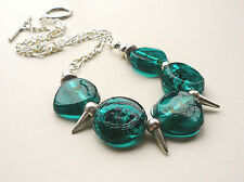 Collar Necklace Teal Blue Foil Lined Glass Bead Silver Spike    KCJ672