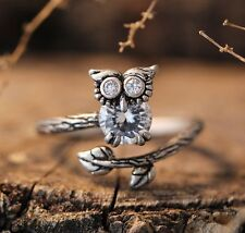 Lucky Owl Crystal Ring Women's Girl's Retro Burnished Animal Bird Ring Gift