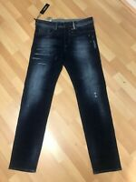 NWD Mens Diesel BUSTER PATCHED STRETCH Denim 084GF DARK BLUE SLIM W33 L32 H6.5
