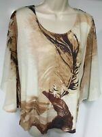 91CPatchington Women Size L Top Embellished Sheer 3/4 Sleeves Peacock Brown