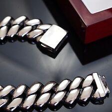Men Stainless Steel Bracelet Chain 316L Heavy Weight Hip Hop Silver Massive y