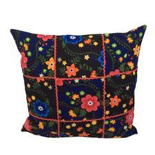 """Floral Flannel Patchwork Blue/Black 18x18"""" Decorative Pillow Case/Cushion Cover"""