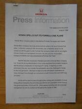 HONDA FORMULA ONE PLANS orig 1998 UK Mkt Press Release - Brochure