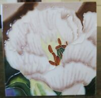 "Tile Art MAJOLICA FLOWER Floral Hang or Display on Surface 6"" x 6"""
