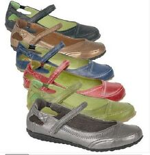 Ladies Girls Coloured Flat Leather lined Comfort Walking  Boulevard  shoe 4 to 9