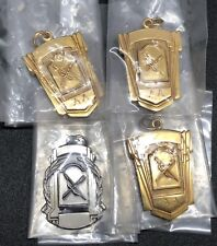 Vtg Archery Aa Bow & Arrow 4 Necklace Award Pendants or Medals Lot (Rf1007)