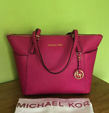 Michael Kors Jet Set Travel Top Zip Fuchsia Pink Saffiano Leather Tote Bag