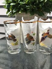 Set of 3 Vintage Ned Smith Waterfowl Duck Highball Bar Glasses Gold Rim
