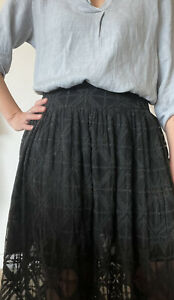 Zimmermann Black Silk Embroidered Lace Maxi Skirt 0