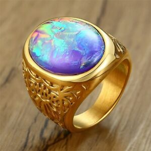 Gold Men's Stainless Steel Ring Opal Stone Fashion Band Mens Jewelry