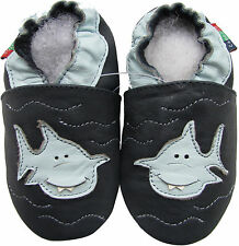 soft sole leather baby shoes shark dark blue 6-12m S