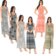 LADIES WOMENS MAXI DRESS SHEERING SHIRRED SUMMER BEACH PARTY CASUAL LONG TOP