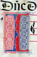 """Huge deco. Antiphonary Manuscript Lf.Vellum, deco. """"I"""" initial,4 colors,1500#130"""