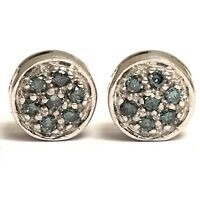 0.50 Carat Fancy Blue Diamond Cluster Stud Earrings 14K White Gold 38 Stones
