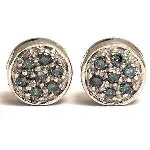14k white gold .21ct SI1 blue diamond button cluster stud earrings 2.6g estate
