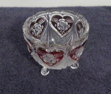 Glass Candy Etched Footed Bowl With Cranberry hearts & Roses