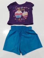 Purple Grandma's Little Cupcake T-shirt and blue shorts sz 9-12 mos.