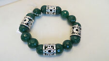 Arte d'Argento Sterling GREEN AGATE Stretch Bracelet Made In Italy