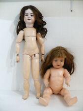 2 anciennes poupées têtes porcelaine. SFBJ 60 Paris & Bébé Germany. Vers 1910.