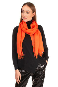 RRP €180 JIL SANDER Shawl Wrap Scarf Thin Wool Blend Frayed Edges Made in Italy