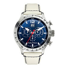 NEW NAUTICA SILVER TONE,WHITE LEATHER BAND+BLUE DIAL,CHRONOGRAPH WATCH-A19567G